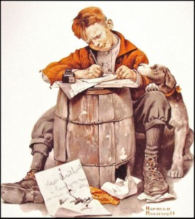 Little-boy-writing-a-letter-painting-by-Norman-Rockwell-e1291367702969
