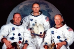 This May 1969 file photo shows the astronaut crew of the Apollo 11 lunar landing mission (left to right): Armstrong, commander; Michael Collins, command module pilot; and Edwin E. Aldrin Jr., lunar module.