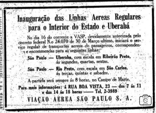 O anúncio dos primeiros vôos comerciais da VASP na imprensa paulista.